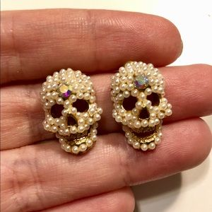 Jewelry - Handmade pearl crystal skull earrings studs